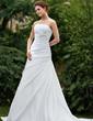 A-linjeformat Axelbandslös Court släp Taft Bröllopsklänning med Rufsar Rosett/-er (002001306)