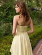 A-Line/Princess Sweetheart Asymmetrical Chiffon Bridesmaid Dress With Ruffle Flower(s) (022027107)