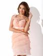 Kılıf Kalp Kesimli Kısa/Mini Organza Satin Mezunlar Gecesi Elbisesi (022010412)