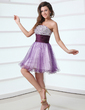 A-Line/Princess Strapless Short/Mini Tulle Cocktail Dress With Ruffle Beading (016017309)