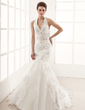Mermaid Halter Chapel Train Satin Tulle Wedding Dress With Lace Beadwork (002012139)