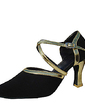 Women's Leatherette Nubuck Heels Pumps Modern With Ankle Strap Dance Shoes (053013577)