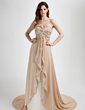 A-Line/Princess Sweetheart Court Train Chiffon Prom Dress With Ruffle Beading Appliques Lace (018015784)