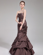 Trumpet/Mermaid Sweetheart Floor-Length Taffeta Evening Dress With Ruffle Flower(s) (017019557)