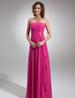 A-Line Sweetheart Floor-length Chiffon Bridesmaid Dress With Side Drape and Brooch (007001085)