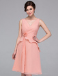 A-Line/Princess V-neck Knee-Length Chiffon Bridesmaid Dress With Flower(s) Cascading Ruffles (007037196)