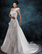 A-Line/Princess One-Shoulder Court Train Satin Organza Wedding Dress With Beading Appliques Lace Flower(s) Cascading Ruffles (002004545)