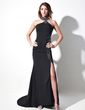 Trumpet/Mermaid Halter Sweep Train Satin Chiffon Prom Dress With Beading Split Front (018016102)