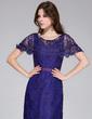 Sheath/Column Scoop Neck Floor-Length Lace Evening Dress (017026210)