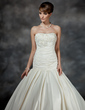 Trumpet/Mermaid Strapless Chapel Train Satin Wedding Dress With Ruffle Beading Appliques Lace Flower(s) (002017183)