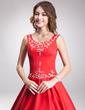 Balo Elbisesi Yuvarlak Yaka Uzun Etekli Saten Quinceanera (15 Yaş) Elbisesi Ile Nakışlı Boncuk (021003160)