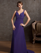 Empire Sweetheart Sweep Train Chiffon Evening Dress With Ruffle Beading (017014855)