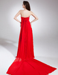 Empire Strapless Watteau Train Chiffon Prom Dress With Ruffle Beading (018015873)