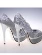 Kadın Köpüklü Glitter İnce Topuk Peep Toe Platform Pompalar Sandalet Ile Çiçek (047057137)