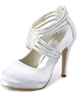 Women's Satin Cone Heel Closed Toe Platform Pumps With Rhinestone Zipper (047020114)