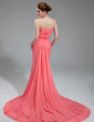 Trumpet/Mermaid Sweetheart Chapel Train Chiffon Prom Dress With Ruffle (018024365)