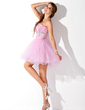 A-Line/Princess Sweetheart Short/Mini Tulle Homecoming Dress With Ruffle Beading (022010194)
