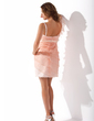Sheath/Column Sweetheart Short/Mini Organza Homecoming Dress With Ruffle Beading Bow(s) (022010412)