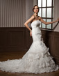 Trumpet/Mermaid Strapless Cathedral Train Organza Wedding Dress With Ruffle Lace Bow(s) (002012769)