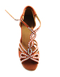 Women's Satin Heels Sandals Latin Ballroom With Rhinestone T-Strap Jewelry Heel Dance Shoes (053013202)