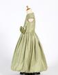 A-Line/Princess Floor-length Flower Girl Dress - Taffeta Sleeveless Scoop Neck With Ruffles/Flower(s) (010016220)