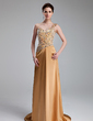 A-Line/Princess One-Shoulder Sweep Train Charmeuse Prom Dress With Beading (018019118)