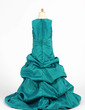 A-Line/Princess Floor-length Flower Girl Dress - Taffeta Sleeveless Scoop Neck With Ruffles/Beading/Pick Up Skirt (010007474)