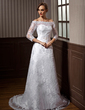 A-Line/Princess Off-the-Shoulder Court Train Lace Wedding Dress With Beading (002000115)