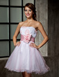 A-Line/Princess Sweetheart Short/Mini Tulle Homecoming Dress With Ruffle Flower(s) (022010493)