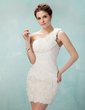 Sheath/Column One-Shoulder Short/Mini Chiffon Lace Homecoming Dress With Ruffle Flower(s) (022010200)