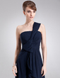 A-Line/Princess One-Shoulder Floor-Length Chiffon Evening Dress With Split Front Cascading Ruffles (017020679)