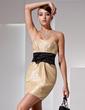 Sheath/Column Strapless Short/Mini Taffeta Homecoming Dress With Ruffle Sash Bow(s) (022014422)
