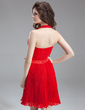 A-Line/Princess Halter Knee-Length Chiffon Homecoming Dress With Bow(s) Pleated (022004972)