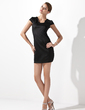 Sheath/Column Scoop Neck Short/Mini Charmeuse Cocktail Dress (016013106)