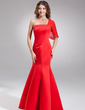 Trumpet/Mermaid One-Shoulder Floor-Length Satin Bridesmaid Dress (007001890)