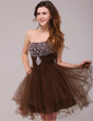 A-Line/Princess Sweetheart Short/Mini Tulle Cocktail Dress With Ruffle Beading (016013978)