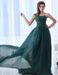 A-Line/Princess One-Shoulder Court Train Chiffon Evening Dress With Ruffle Beading (017017349)