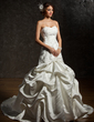 Ball-Gown Sweetheart Chapel Train Satin Wedding Dress With Lace Beading (002000483)