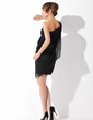 Sheath/Column One-Shoulder Knee-Length Chiffon Cocktail Dress With Ruffle (016021169)