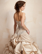 Ball-Gown Strapless Chapel Train Satin Wedding Dress With Embroidered Ruffle Sequins (002001445)