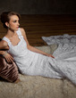 Trumpet/Mermaid Scoop Neck Chapel Train Lace Wedding Dress (002008175)