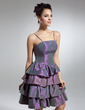 A-Line/Princess Knee-Length Taffeta Cocktail Dress With Cascading Ruffles (016015045)