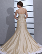 Trumpet/Mermaid Strapless Chapel Train Taffeta Wedding Dress With Ruffle Appliques Lace (002012806)