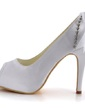 Women's Satin Peep Toe Pumps With Buckle Rhinestone (047039643)