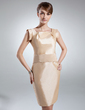 Sheath/Column Knee-Length Taffeta Mother of the Bride Dress With Ruffle (008016038)
