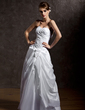 A-Line/Princess Sweetheart Floor-Length Taffeta Tulle Wedding Dress With Ruffle Beading Appliques Lace Flower(s) (002022509)