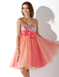 Empire Sweetheart Knee-Length Tulle Homecoming Dress With Beading Bow(s) (022020837)