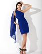 Sheath/Column One-Shoulder Short/Mini Chiffon Homecoming Dress With Ruffle (022011272)