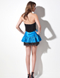 A-Line/Princess Sweetheart Short/Mini Chiffon Charmeuse Lace Cocktail Dress With Ruffle (016016048)