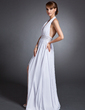 A-Line/Princess Halter Floor-Length Chiffon Mother of the Bride Dress With Ruffle Beading Split Front (008015100)
